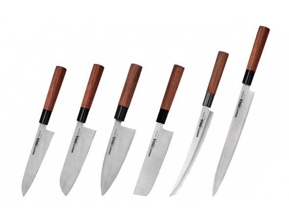 Набор из 6-ти ножей Samura Okinawa Шеф, Сантоку, Деба, Накири, слайсер, Янагиба