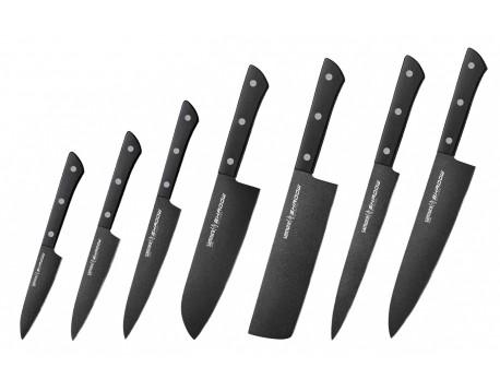 Набор из 7-х ножей Samura Shadow овощной, универсальный 120 мм, универсальный 150 мм, Сантоку, Накири, для нарезки, Шеф