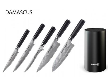 Набор из 5-ти ножей Samura Damascus Универсальный 125 мм, для нарезки, Обвалочный, Шеф, Сантоку 180 мм и подставки