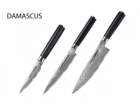 Набор из 3-х ножей Samura Damascus овощной, универсальный 150 мм, шеф