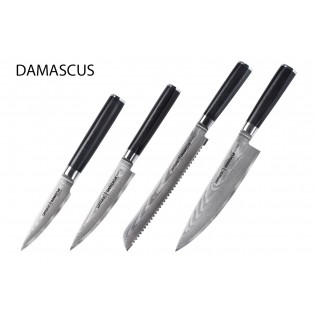 Набор из 4-х ножей Samura Damascus овощной, универсальный 125 мм, для хлеба, шеф