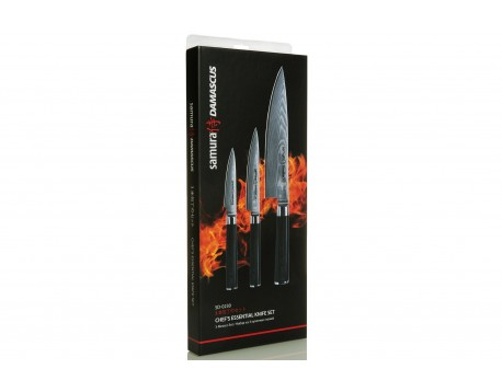 Набор из 3-х ножей Samura Damascus овощной, универсальный 125 мм, шеф