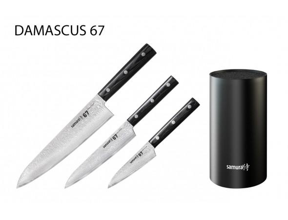 Набор из 3-х ножей SAMURA 67 DAMASCUS овощной, универсальный, шеф и подставки