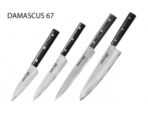 Набор из 4-х ножей SAMURA 67 DAMASCUS овощной, универсальный, слайсер, шеф