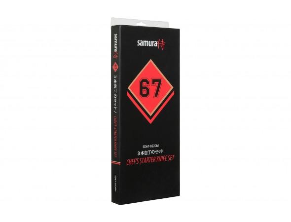 Набор из 3-х ножей SAMURA 67 DAMASCUS SD67-0220 овощной, универсальный, шеф