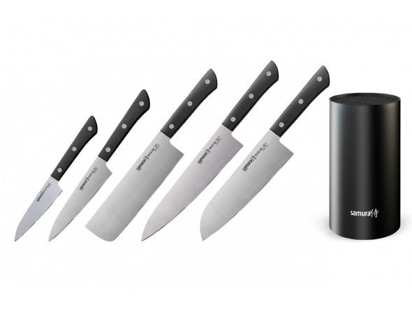 Набор из 5-ти ножей Samura Harakiri овощной, универсальный 120 мм, накири, шеф, сантоку и подставки
