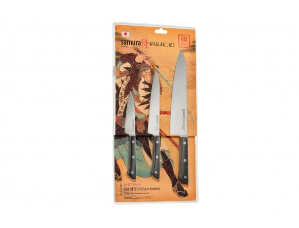 Набор из 3-х ножей Samura Harakiri SHR-0220B овощной, универсальный, шеф