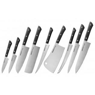 Набор из 9-ти ножей Samura Harakiri овощной, универсальный 120 мм., сантоку, накири, филейный, топорик, слайсер, для нарезки, шеф