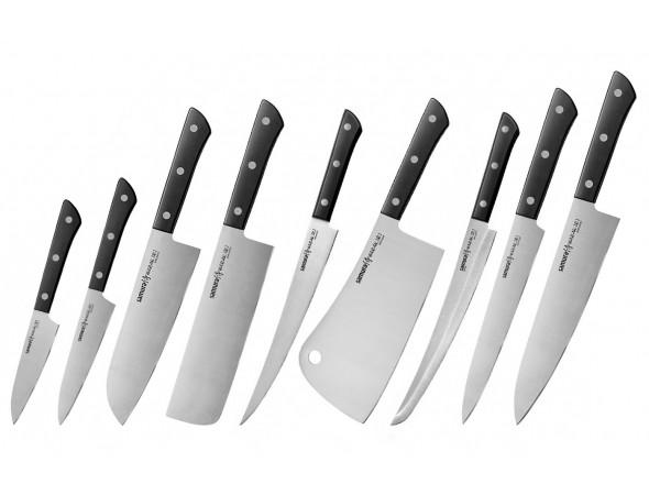 Набор из 9-ти ножей Samura Harakiri овощной, унверсальный 120 мм., сантоку, накири, филейный, топорик, слайсер, для нарезки, шеф