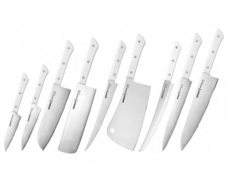Набор из 9-ти ножей Samura Harakiri овощной, унверсальный 120 мм., сантоку, накири, филейный, топорик, слайсер, для нарезки, шеф, белая рукоять