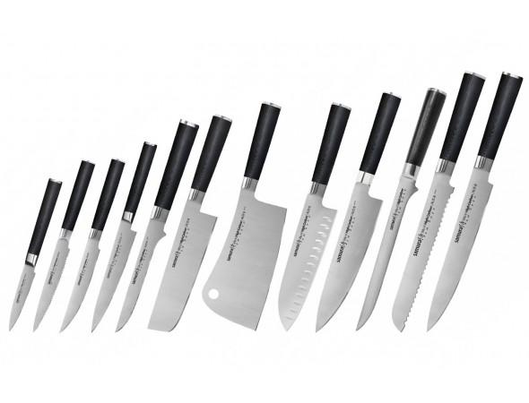 Набор из 12-ти ножей Samura Mo-V овощной, для томатов, для стейка, универсальный 150, обвалочный, накири, топорик, сантоку, шеф, филейный, для хлеба, для нарезки