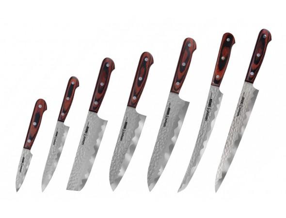 Набор из 7-ми ножей SAMURA KAIJU, овощной, универсальный, накири, сантоку, шеф, слайсер, Янагиба