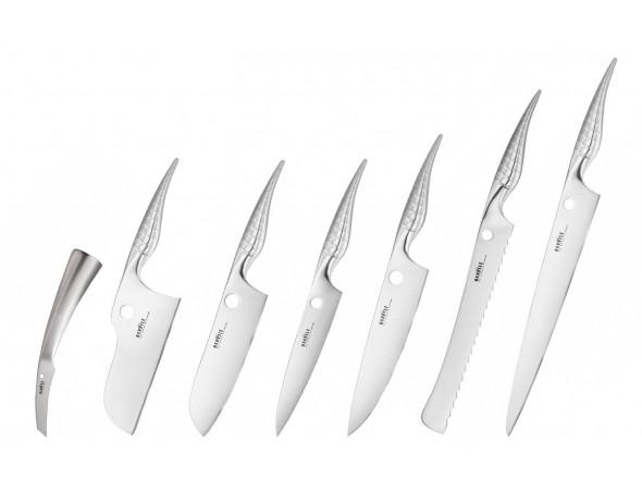 Набор из 7-ми ножей Samura REPTILE овощной, топорик, сантоку, универсальный 168 мм., шеф, для хлеба, для нарезки