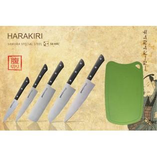 Набор из 5-ти ножей Samura Harakiri (чёрная рукоять) и доска