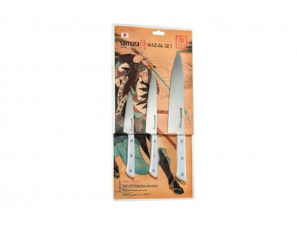 Набор из 3-х ножей Samura Harakiri овощной, универсальный 150 мм, шеф
