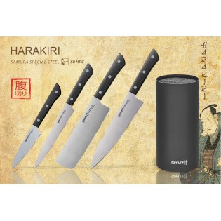 Набор из 4-х ножей Samura Harakiri овощной, для нарезки, накири, шеф и подставки