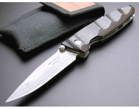 Нож складной Mcusta MC-0023D с обкладками из дамасской стали и чехлом