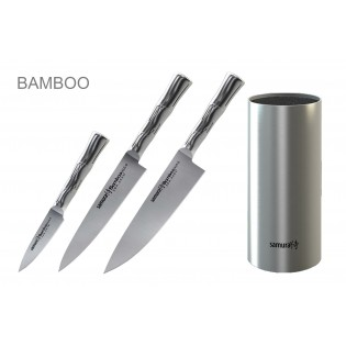 Набор из 3-х ножей Samura Bamboo овощной, универсальный 125 мм, шеф и стальной подставки