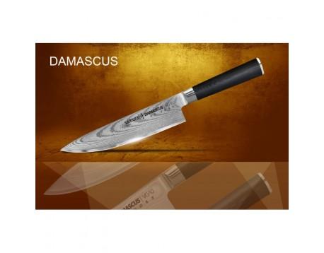 Набор из 5-ти ножей Samura Damascus Овощной, Универсальный 125 мм, Шеф, для томатов, для хлеба и подставки