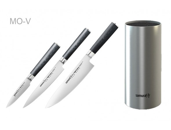 Набор из 3-х ножей Samura Mo-V Овощной, Универсальный 150 мм, Шеф и стальной подставки