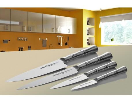 Набор из 4-х ножей Samura Bamboo овощной, универсальный 125 мм, для нарезки, шеф и черной подставки