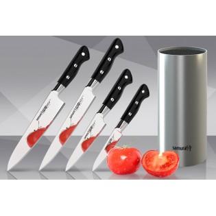 Набор из 4-х ножей Samura Pro-S Овощной, Универсальный 115 мм, для нарезки, Шеф и стальной подставки