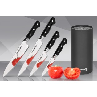 Набор из 4-х ножей Samura Pro-S Овощной, Универсальный 115 мм, для нарезки, Шеф и подставки
