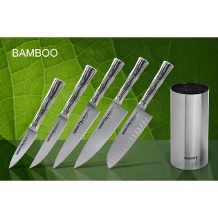 Набор из 5-ти ножей Samura Bamboo овощной, универсальный 150 мм, для стейка, шеф, сантоку 137 мм и подставки