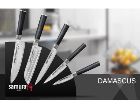 Набор из 5-ти ножей Samura Damascus Овощной, Универсальный 125 мм, для Нарезки, Шеф, Сантоку 180 мм и подставки