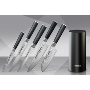 Набор из 5-ти ножей Samura Damascus Универсальный 125 мм, для нарезки, Обвалочный, Шеф, Сантоку 145 мм и подставки
