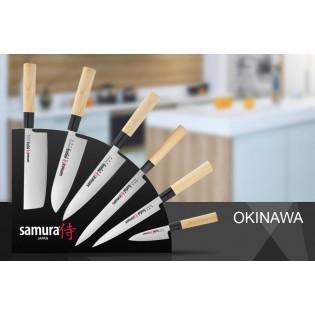 Набор из 6-ти ножей Samura Okinawa Деба 110 мм, Petty 175 мм, Сантоку 160 мм, Шеф Gyuto 175 мм, Янагиба 245 мм, Накири 160 мм и подставки