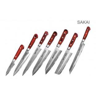 Набор из 7-х ножей Samura Sakai Овощной 80 мм, Универсальный 150 мм, Шеф 210 мм, Накири 160 мм, Сантоку 180 мм, Слайсер 240 мм и Янагиба 270 мм