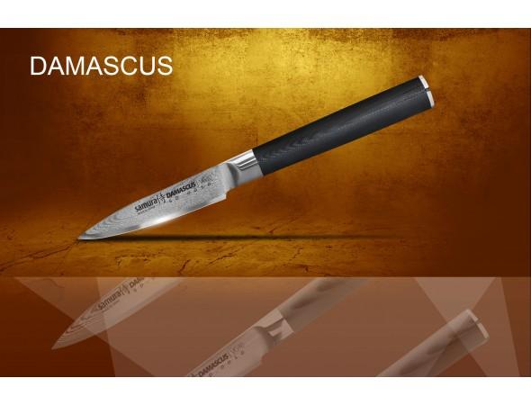 Набор из 4-х ножей Samura Damascus Овощной, Универсальный 125 мм, Шеф, Сантоку 145 мм и подставки