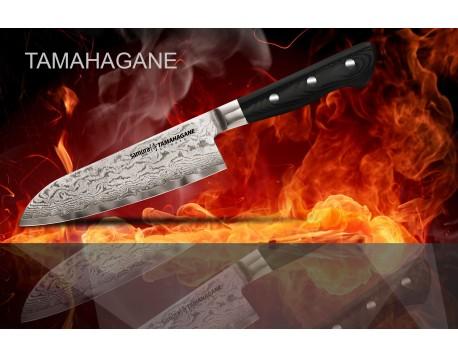 Набор из 5-ти ножей Samura Tamahagane Овощной 75 мм, Универсальный 125 мм, Универсальный 150 мм, Шеф 210 мм, Сантоку 180 мм и подставки