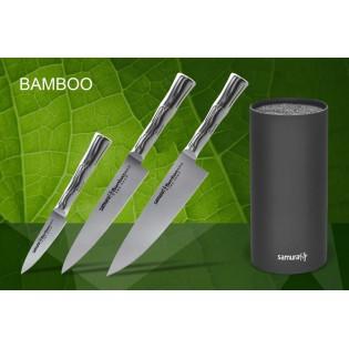 Набор из 3-х ножей Samura Bamboo овощной, универсальный 150 мм, шеф и подставки
