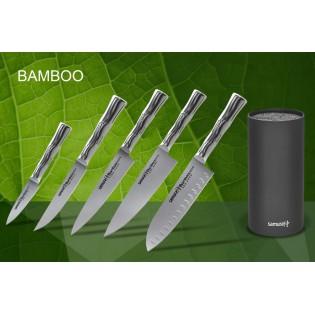 Набор из 5-ти ножей Samura Bamboo овощной, универсальный 150 мм, для стейка, шеф, сантоку 137 мм и черной подставки