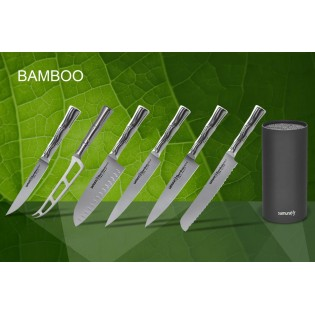 Набор из 6-ти ножей Samura Bamboo для стейка, для сыра, сантоку 160 мм, для нарезки, универсальный 125 мм, для хлеба и черной подставки