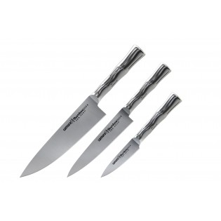 Набор из 3-х ножей Samura Bamboo овощной, универсальный 125 мм, шеф