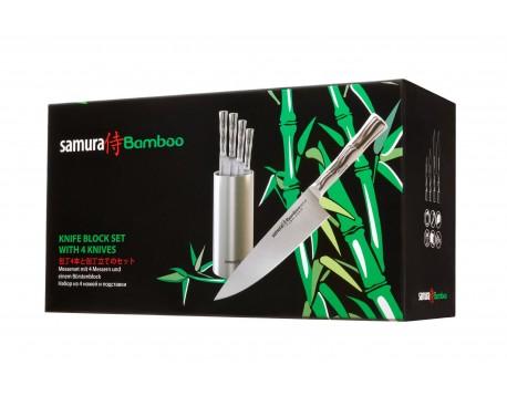 Набор из 4-х ножей Samura Bamboo овощной, универсальный 125 мм, для нарезки, шеф и подставки