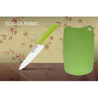 Нож кухонный Samura Eco Festival шеф 175 мм (салатовый) и Доска