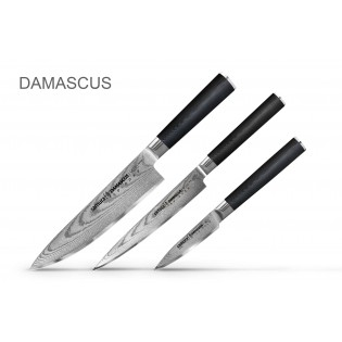 Набор из 3-х ножей Samura Damascus овощной, универсальный 125 мм, шеф в подарочной коробке