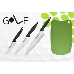 Набор из 3-х ножей Samura Golf Овощной 98 мм, Универсальный 158 мм, Шеф 221 мм и Доски