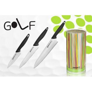 Набор из 3-х ножей Samura Golf Овощной 98 мм, Универсальный 158 мм, Шеф 221 мм и Подставки
