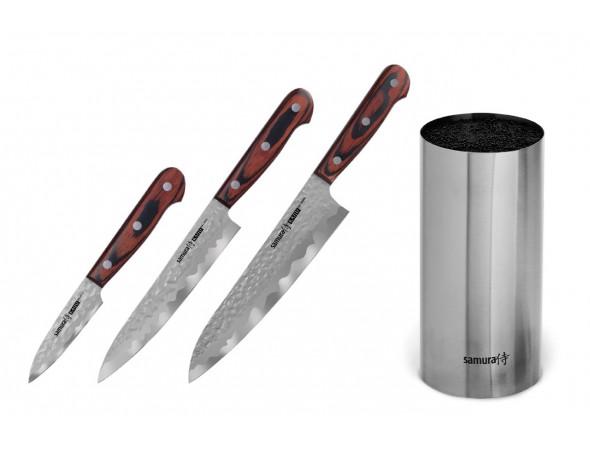 Набор из 3-х ножей SAMURA KAIJU, овощной, универсальный, шеф и стальной подставки