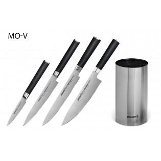 Набор из 4-х ножей Samura Mo-V овощной, универсальный, для нарезки, шеф и подставка