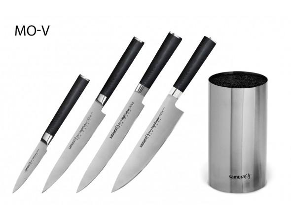 Набор из 4-х ножей Samura Mo-V Овощной, Универсальный 150 мм, Для нарезки, Шеф и стальной подставки