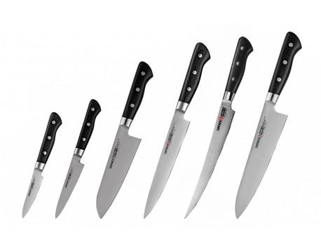 Набор из 6-ти ножей Samura Pro-S овощной, универсальный 115 мм., сантоку, для нарезки, Шеф, филейный