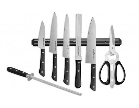 Набор Super Set Harakiri овощной, универсальный, накири, для хлеба, шеф, мусат, ножницы, магнитный держатель