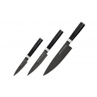 Набор из 3-х ножей Samura Mo-V Stonewash овощной, универсальный, Шеф